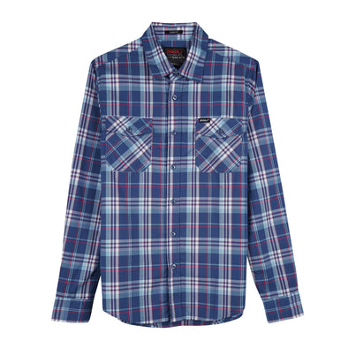 RRJ Men's Basic Woven Semi Body Fit 16793 (Blue-Blue)^