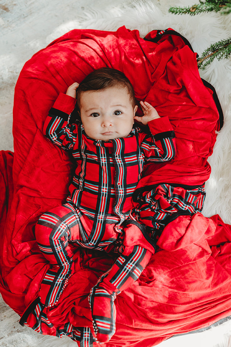 plaid baby onesie
