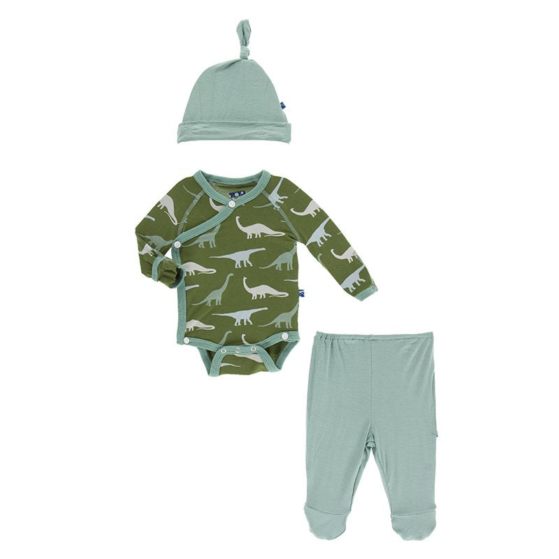 green dinosaur kickee pants