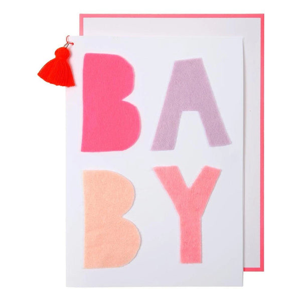 Pink Felt Baby Greeting Card