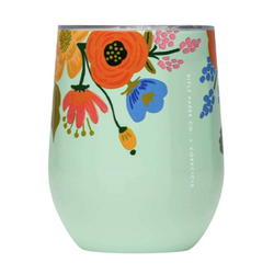 Corkcicle Stemless Wine Glass - Mint Floral