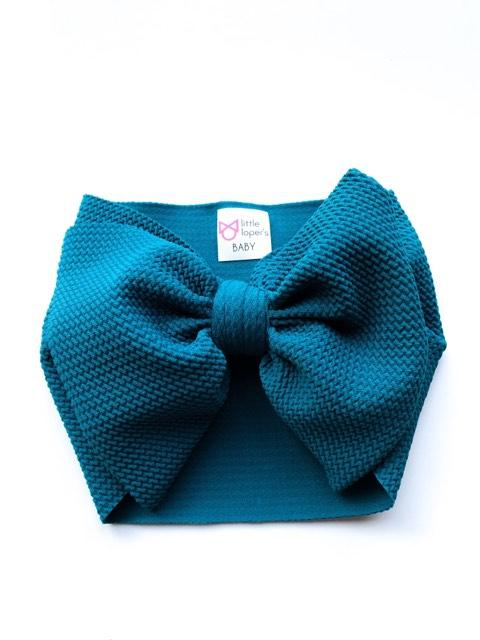 teal baby bow