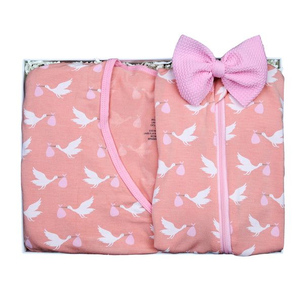 Mommy & Me Blush Stork Baby Gift Box