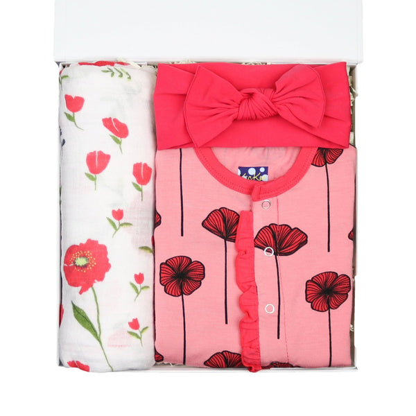 pink flowers baby gift