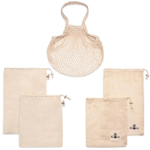 Organic Cotton Produce Bags +Carrying Beach Tote (5 Bags)