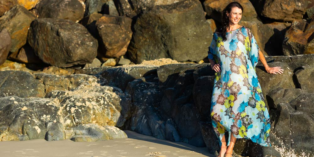Beach Weddings & Kaftans, Kua Bay Long Silk Kaftan, Laloom Kaftans