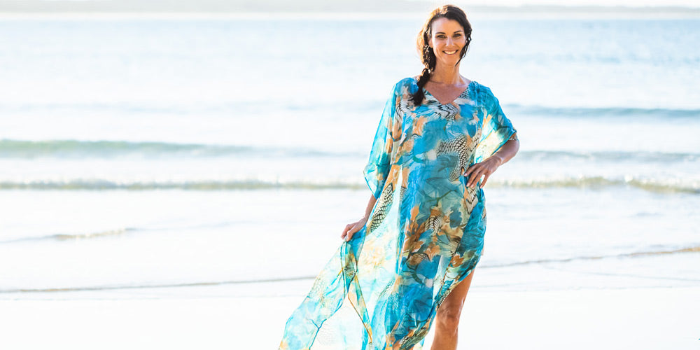 Fashion For Summer, Kekaha Beach Long Kaftan Dress, Laloom Kaftans