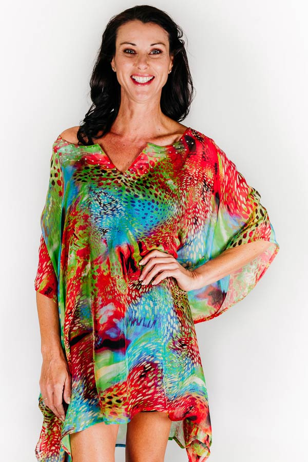Antibes short kaftan dress in silk