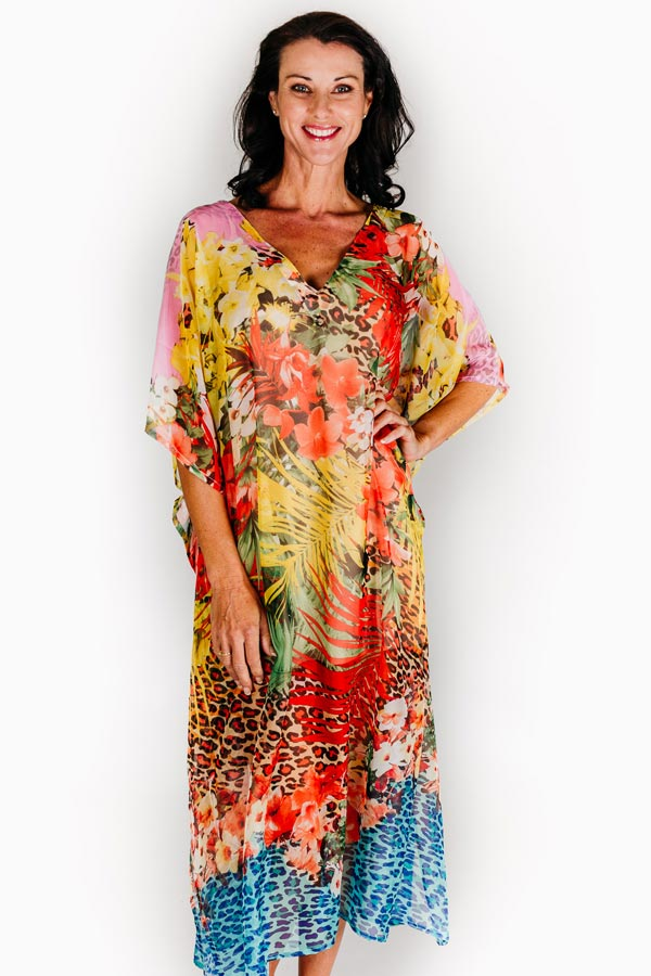 Bay Of Fires long kaftan dress in chiffon