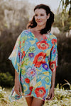 Blue Beach S kaftan in satin