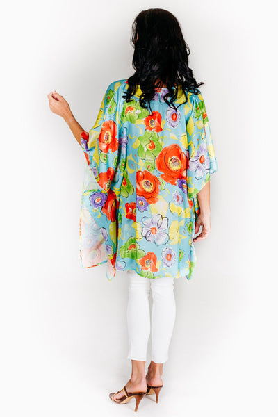 Blue Beach S satin kaftan