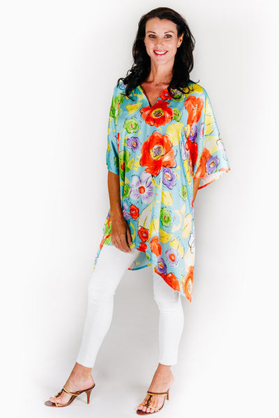 Blue Beach S satin short kaftan