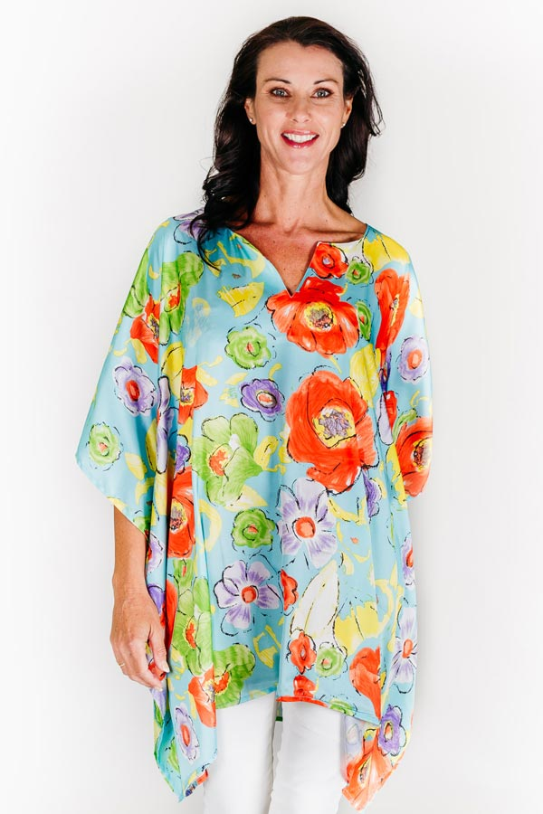 Blue Beach S short kaftan dress in satin
