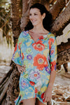 Blue Beach S short kaftan in satin