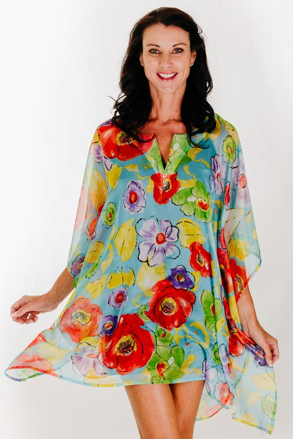 Blue Beach short kaftan dress in chiffon
