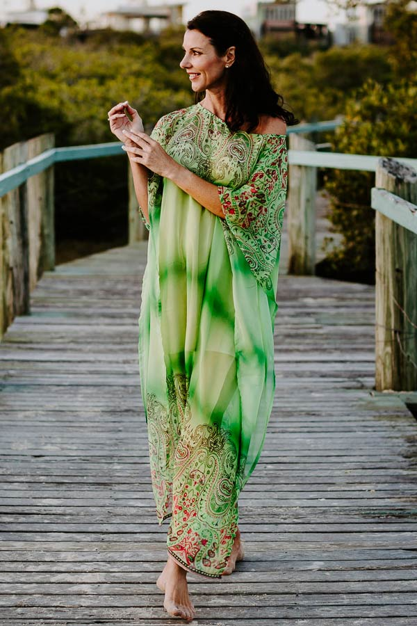 Bondi Beach long kaftan dress in poly chiffon