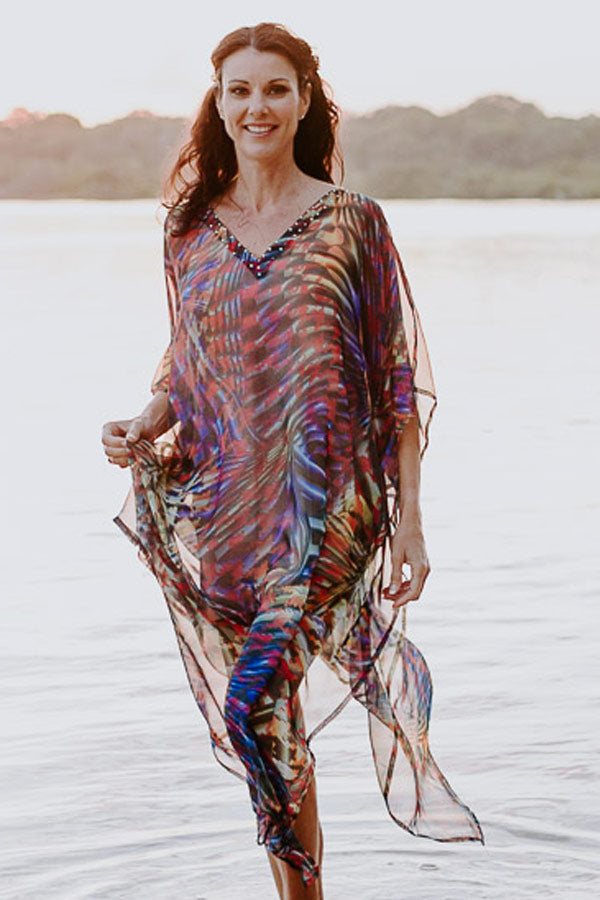 Cannes long kaftan dress in chiffon