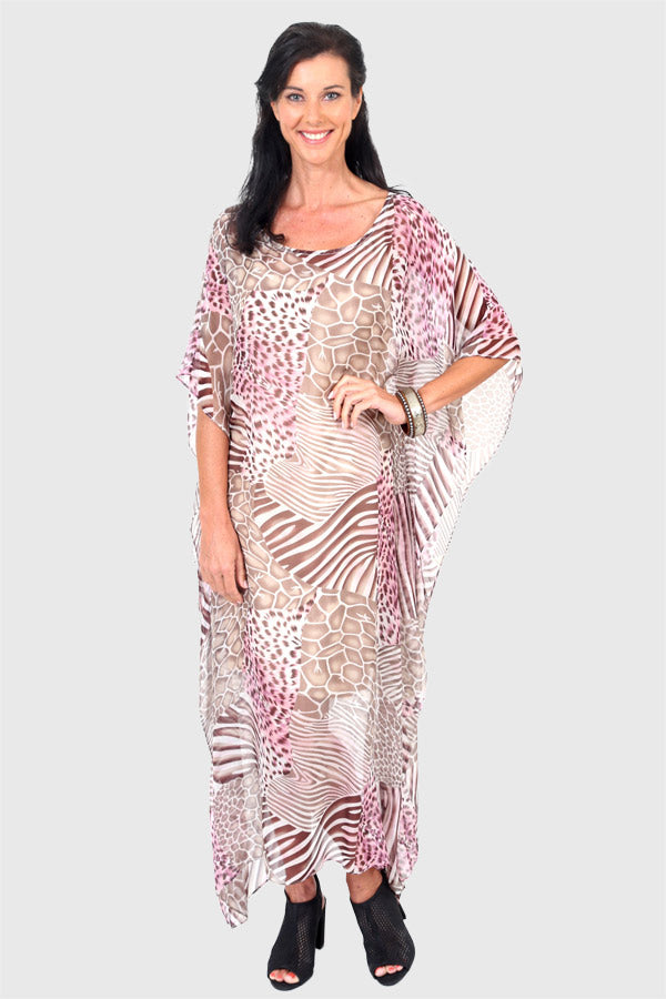 Cheetahlicious long kaftan dress in pure silk