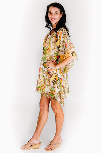 Cocoa Island L pure silk short kaftan dress