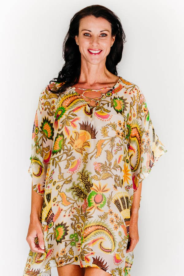 Cocoa Island L short kaftan dress in pure silk