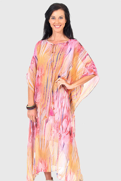 Dance Love Sing Live long kaftan dress in chiffon