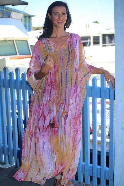 Dance Love Sing Live long kaftan in chiffon