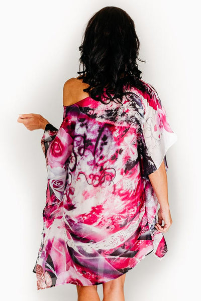 Dreamtime Beach silk short kaftan
