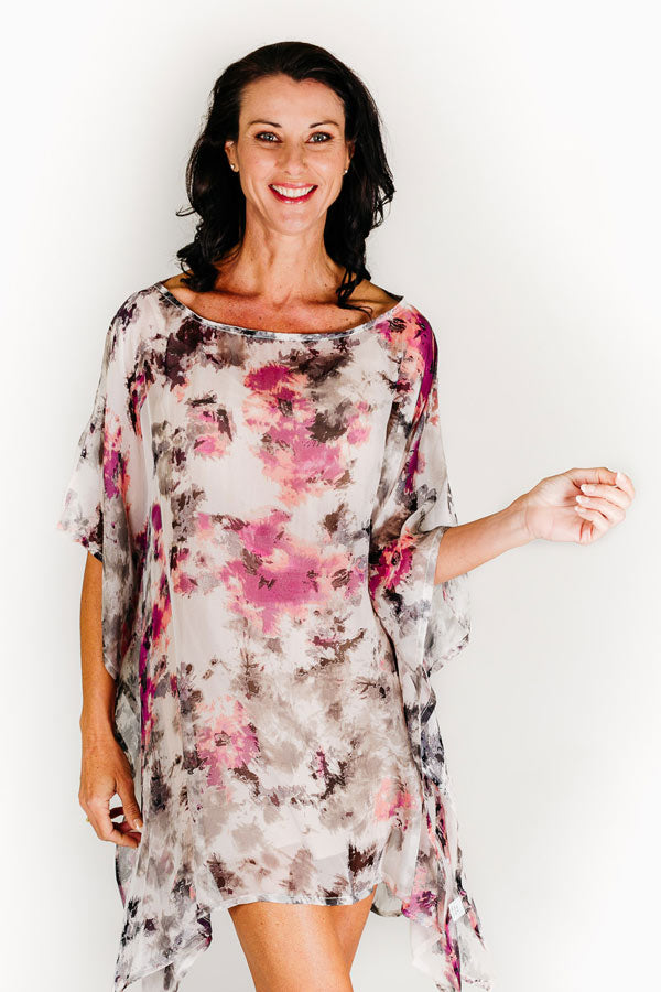 Hayman short kaftan dress in silk