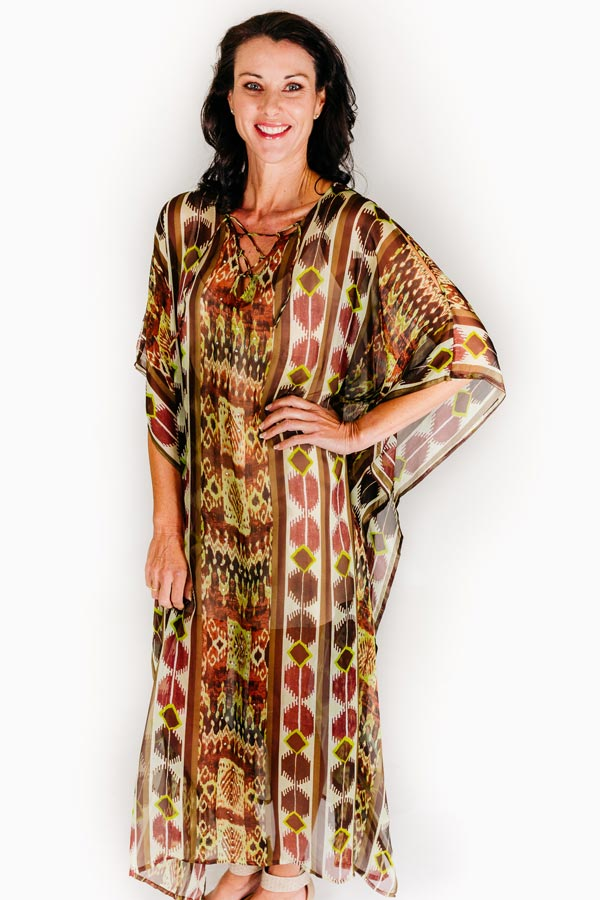 Heart Reef L long kaftan dress in pure silk