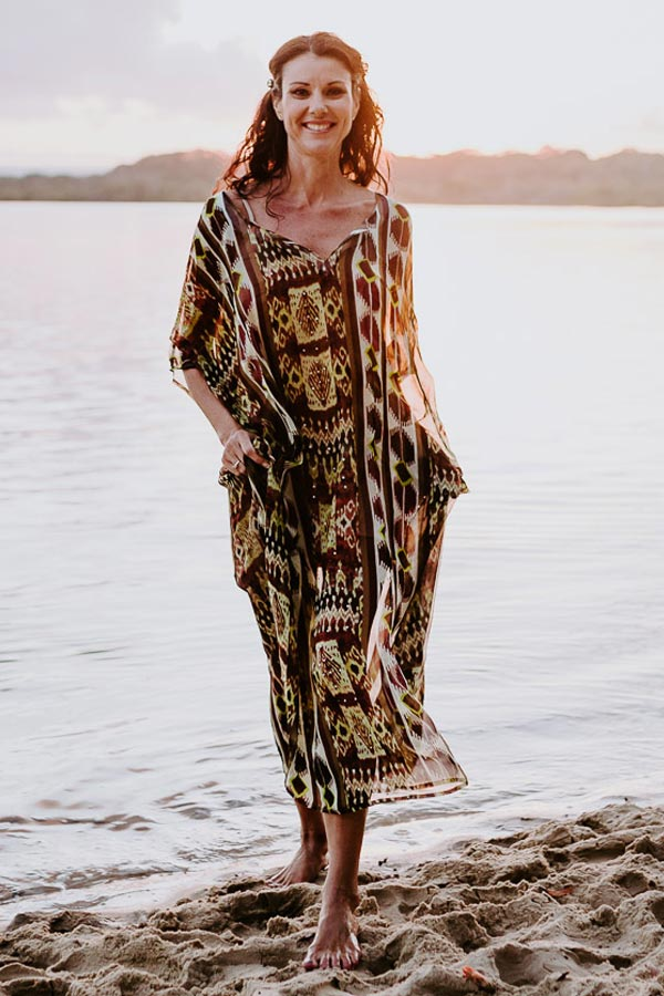 Heart Reef V long kaftan dress in pure silk