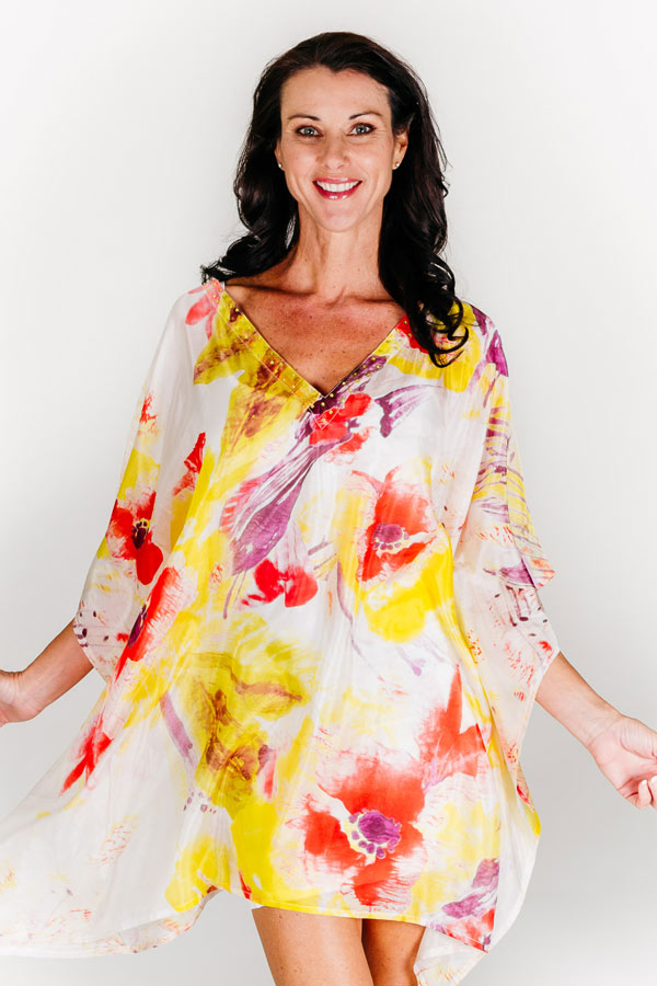 Kandolhu Island short kaftan dress in pure silk