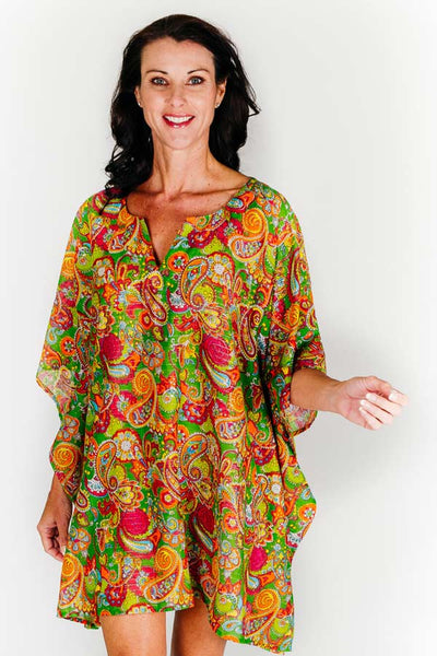 Larvotto Beach short kaftan dress in cotton