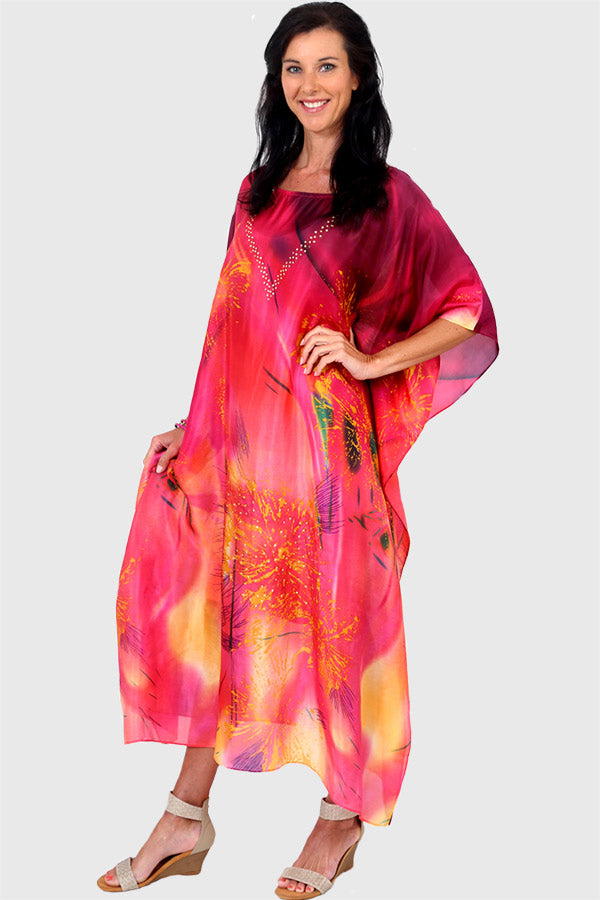 Live Love Sparkle long kaftan dress in silk