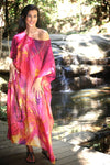 Live Love Sparkle silk long kaftan dress