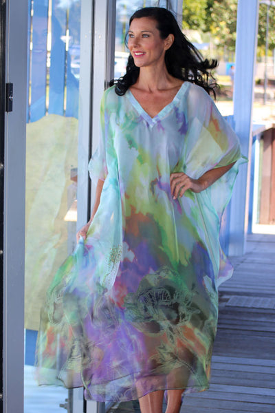 Make A Wish chiffon long kaftan dress