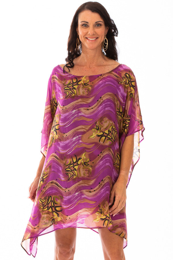Molokini Short Silk Kaftan Dress, Laloom Kaftans