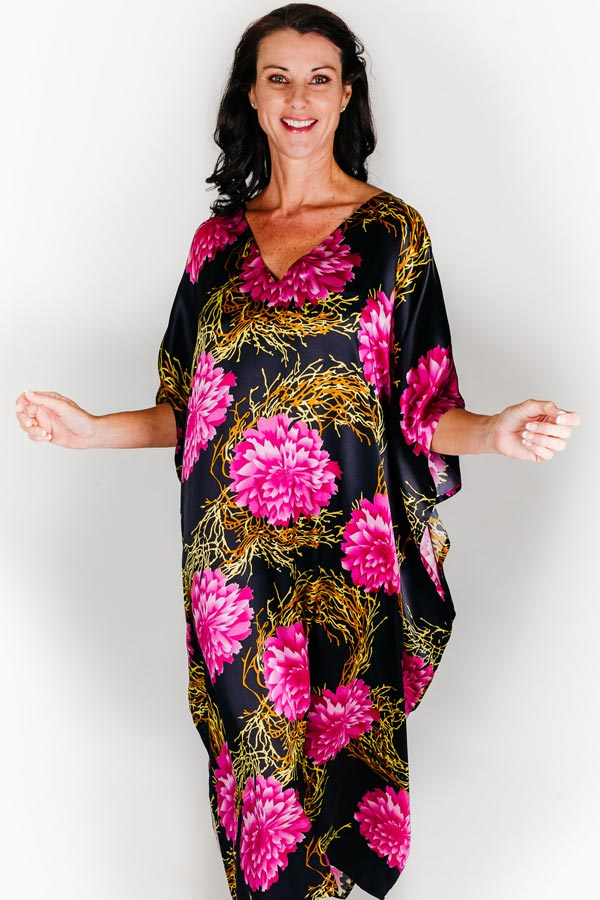 Monaco long kaftan dress in silk