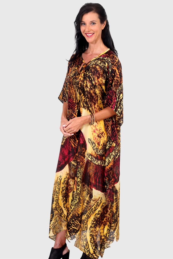 Moonlight Dancing long kaftan dress in pure silk