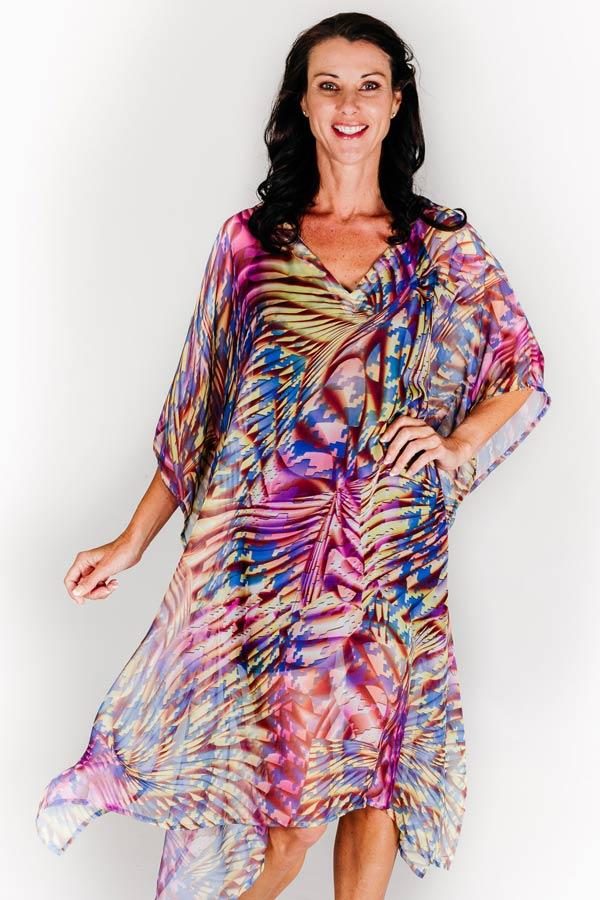 Nice midi dress kaftan in chiffon