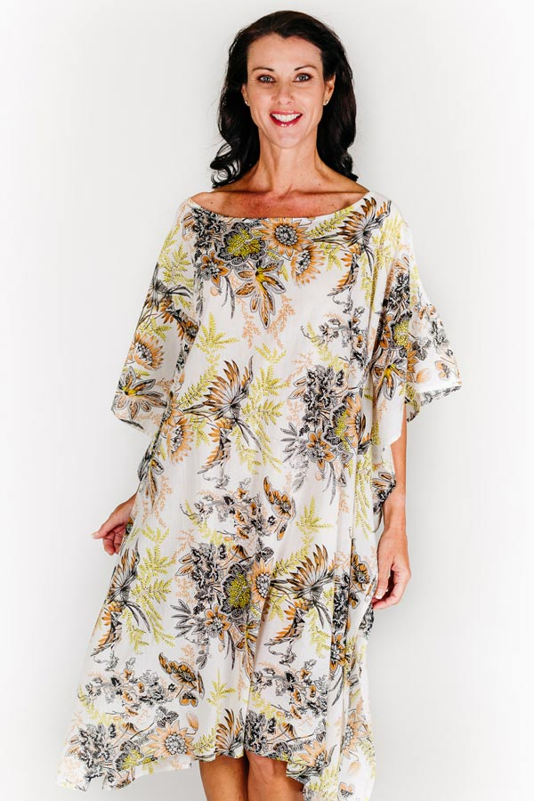 Nika Island midi dress kaftan in cotton