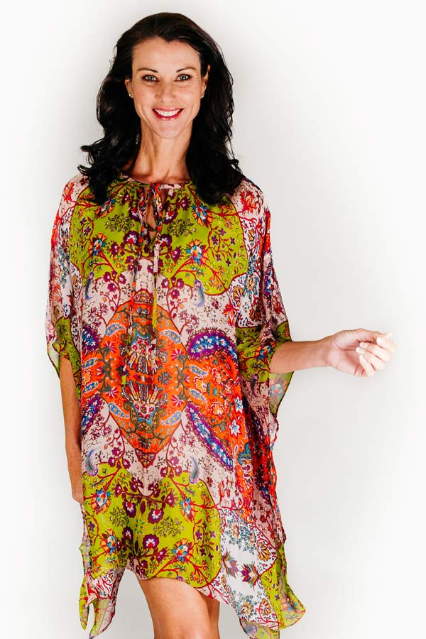 Pampelonne Beach short kaftan dress in pure silk