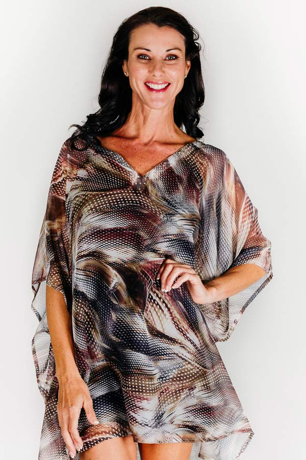 Reethi Rah short kaftan dress in chiffon