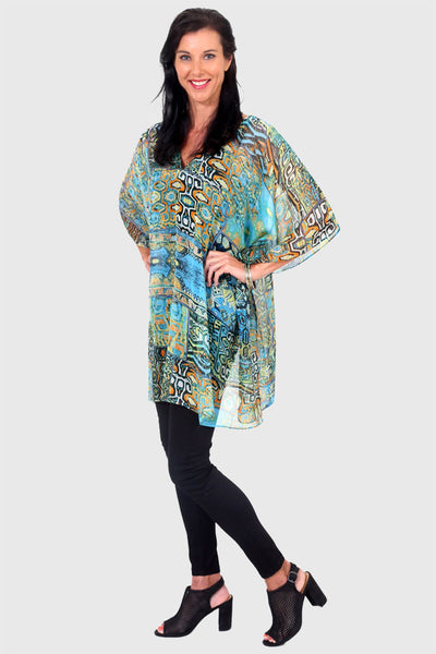 Secret Happiness chiffon short kaftan dress