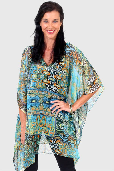 Secret Happiness short kaftan dress in chiffon