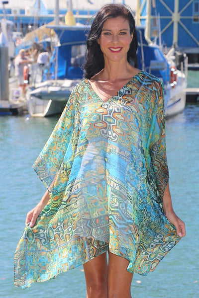 Secret Happiness short kaftan in chiffon