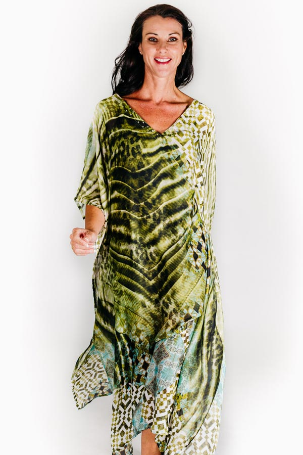St Tropez long kaftan dress in satin