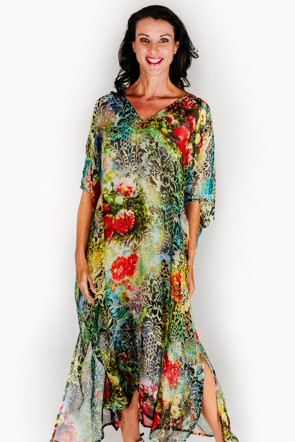 Sun Island long kaftan dress in pure silk