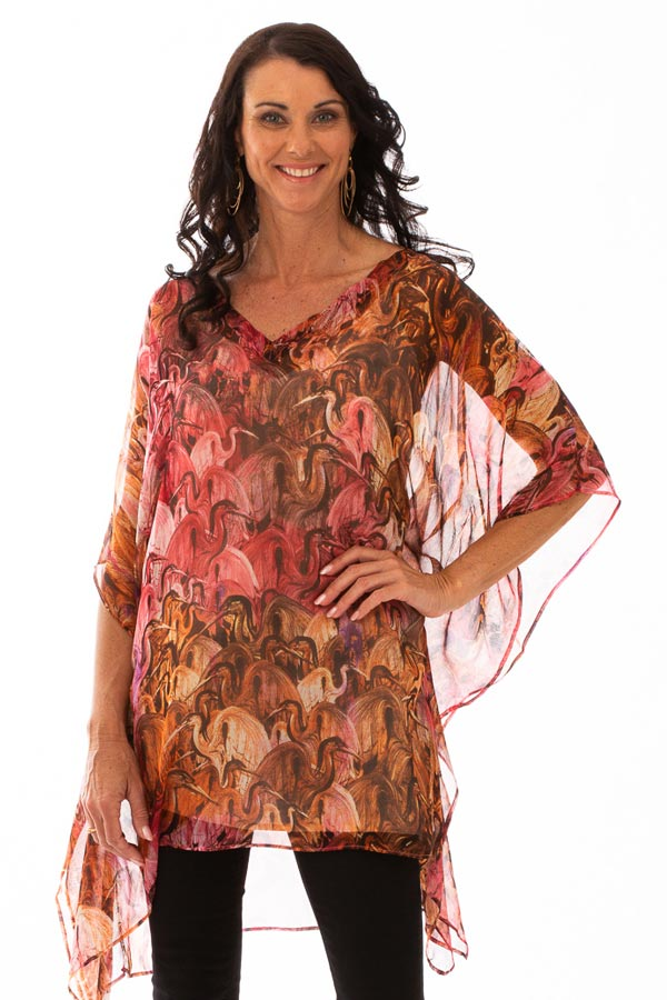 Sunset Beach Short Silk Kaftan Dress, Laloom Kaftans