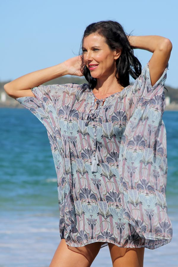 Sweetheart Be Mine short kaftan dress in silk