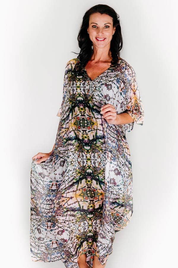 The Bedarra long kaftan dress in pure silk